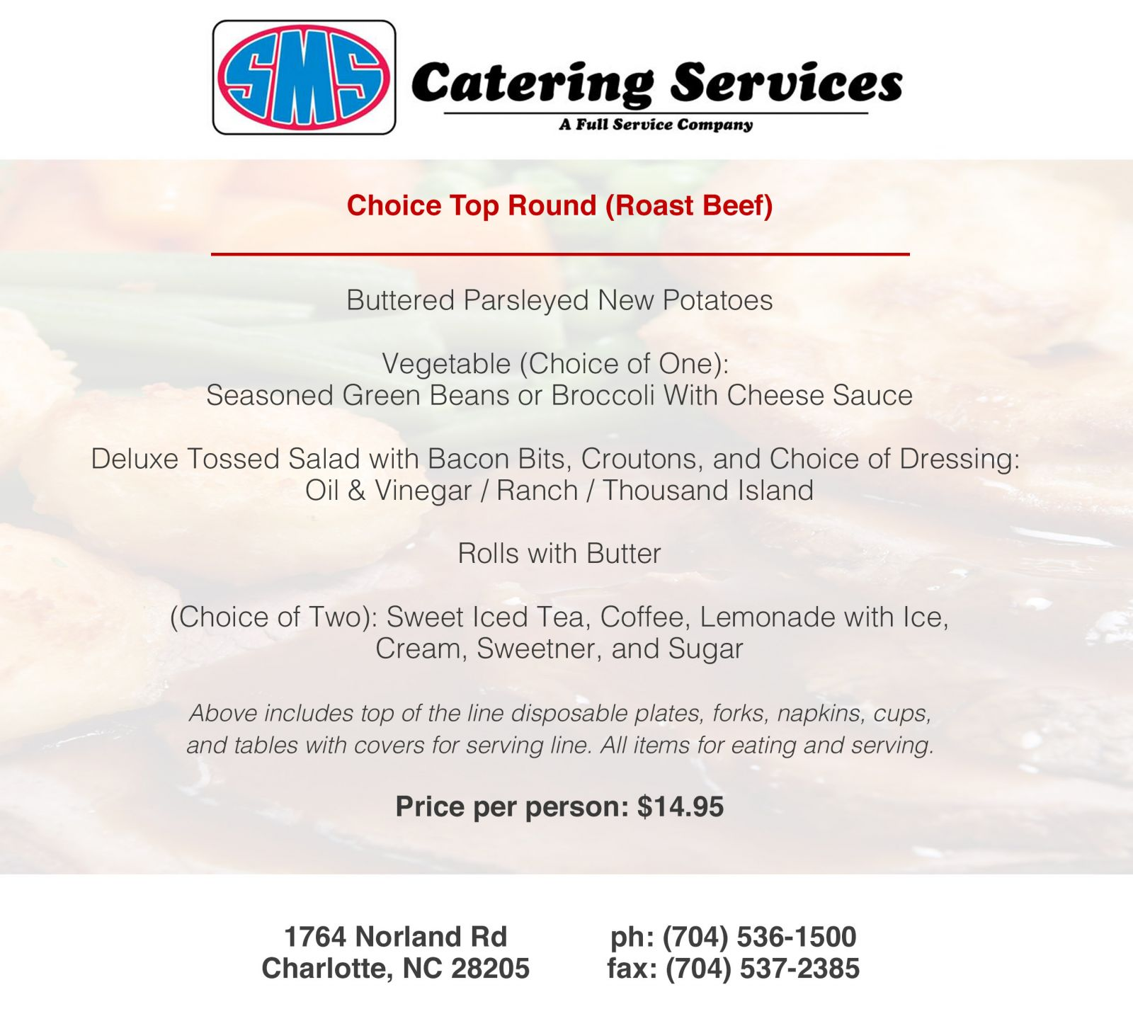 Roast Beef Catering Menu Sms Catering Charlotte